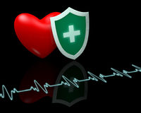 Heart beat and shield Royalty Free Stock Image