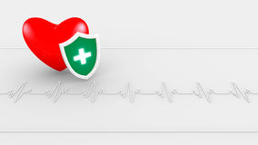 Heart beat and shield Royalty Free Stock Images