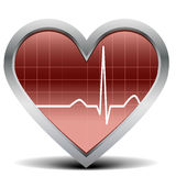 Heart beat signal. Illustration of a shiny and glossy heart with a heart beat signal Royalty Free Stock Photos