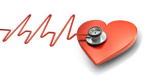 Heart beat symbol. Stethoscope, red heart and electrocardiogram (3d illustration Stock Image