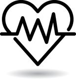 Heart beat web icon. Black - vector illustration on isolated white background Royalty Free Stock Photography