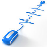 Heart beating in internet blue. Blue computer mouse with cable shaped like a heartbeat graphic Stock Photo