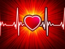 Heart beating monitor with burst. EPS 10 Stock Image