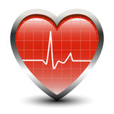 Heart Beats. Pulse in heart shape oscilloscope Stock Photo