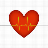 Heart beats. Heart and heart beats connections shown here in conceptual way Stock Image