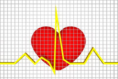 Heart Beats. Heart and heart beats connections shown here in conceptual way royalty free illustration