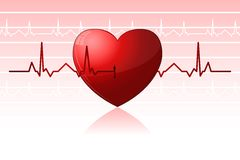Heart Beats. Illustration of heart beats crossing heart on abstract background Royalty Free Stock Images