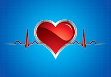 Heart beats. Illustration.Steel style medical button vector illustration