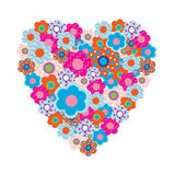 Heart of beautiful colored flowers Stock Image
