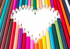 The heart of the beautiful colored pencils. Sharpened Royalty Free Stock Images