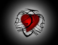 Heart. Beautiful red heart locked in a transparent abstract black sphere Vector Illustration