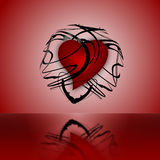 Heart. Beautiful red heart locked in a transparent abstract black sphere Royalty Free Illustration