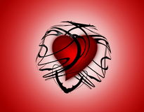 Heart. Beautiful red heart locked in a transparent abstract black sphere Stock Illustration