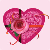 Heart with a beautiful rose. Royalty Free Stock Photo