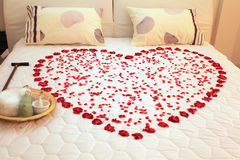 Heart on a bed Stock Photography