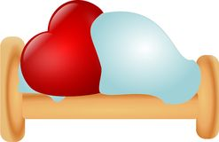 Heart in bed Royalty Free Stock Photos