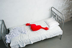Heart on the bed Stock Image