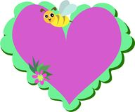 Heart with Bee and Flower Stock Photography
