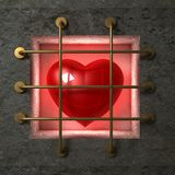 Heart behind gold bars Royalty Free Stock Photo