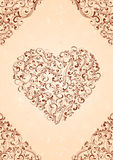 Heart on beige background. Decorative template from ornate elements, illustration Royalty Free Stock Photos