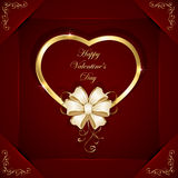 Heart with beige bow Stock Images