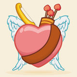 Heart with Belt, Bow, Arrows and Wings for Cupid, Vector Illustration Royalty Free Stock Images