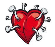 Heart with bent nails. Retro heart with bent nails for tattoo or mascot design royalty free illustration