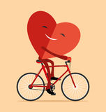 Heart on a bicycle. Royalty Free Stock Photo