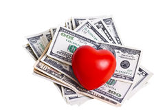 Heart and bills Royalty Free Stock Images