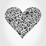 Heart a bird. Grey heart collected from birds. A vector illustration Royalty Free Stock Photo