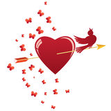 Heart, bird and arrow Royalty Free Stock Image