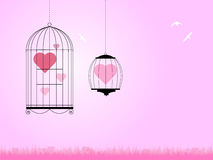 Heart in bird cages Royalty Free Stock Images