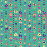 Heart bird flower seamless pattern on blue background. Stock Photos