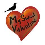 Heart & bird. My Sweet Valentine. Heart painting & design Royalty Free Stock Photos