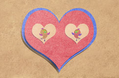 heart and bird recycled paper craft Stock Photography