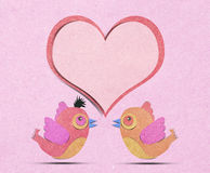 heart and bird recycled paper craft Royalty Free Stock Photos