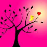 Heart Birds Means Valentines Day And Branch Stock Images