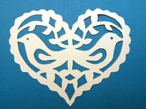 Heart with birds. Paper cutting. Royalty Free Stock Images