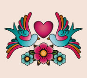 Heart and birds tattoo isolated icon design Royalty Free Stock Photo