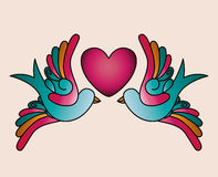 Heart and birds tattoo isolated icon design Stock Photos