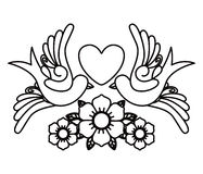 Heart and birds tattoo isolated icon design Stock Photography
