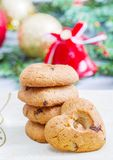 Heart biscuit with christmas decoration. Some heart biscuit with christmas decoration Stock Photo