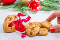 Heart biscuit with christmas decoration. Some heart biscuit with christmas decoration stock image
