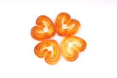 Heart biscuits. Isolated on white royalty free stock photography