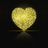 Heart on black background Gold glitter Royalty Free Stock Photography