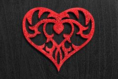 Heart on black background. Red heart on black background Stock Images