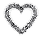 Heart black circle white bg. Heart  illustration with black and gray circles Stock Images
