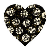 Heart in black and gold colors with dots and cribbles royalty free illustration