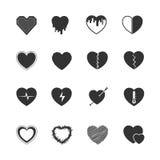 Heart black icons set Stock Image