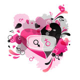Heart black and pink. Festive Valentine black, pink background with heart pattern and Venus and Mars symbols Royalty Free Stock Images